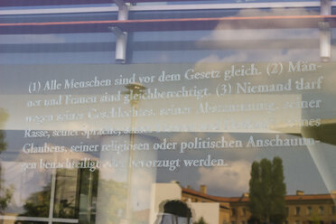 Germany, Berlin, German constitution written on glass in front of Bundestag - CM000168