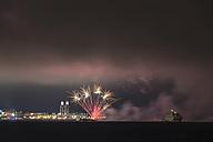USA, Illinois, Chicago, fireworks at Navy Pier at Lake Michigan - FO007168