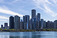 USA, Illinois, Chicago, skyline seen from Navy Pier at Lake Michigan - FOF007137