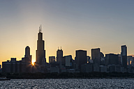 USA, Illinois, Chicago, Skyline, Willis Tower and Lake Michigan at sunset - FO007211