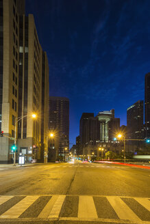 USA, Illinois, Chicago, skyscrapers in downtown at night - FOF007149