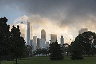 USA, Illinois, Chicago, John Hancock Center and skyscrapers in fog - FOF007176