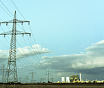 Germany, Saxony-Anhalt, Schkopau, power pylons and coal-fired power plant - LYF000279