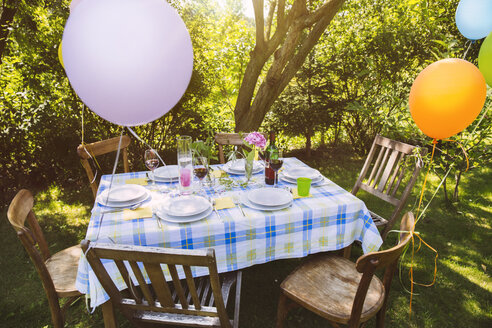 Party table in garden with plates and glasses - MFF001237