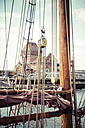 Germany, Schleswig-Holstein, Luebeck, Old town, Museum harbour, Museum ship, rigging - KRPF001039