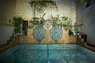 Morocco, Fes, Hotel Riad Fes, pool by night - KMF001428
