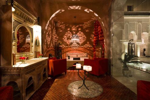 Morocco, Fes, Hotel Riad Fes, hotel room by night - KMF001463