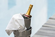 Morocco, Fes, Hotel Riad Fes, bottle of champagne in champagne cooler - KMF001472