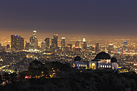 USA, California, Los Angeles, Skyline and Griffith Observatory in the evening - FOF006995