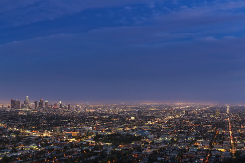 USA, California, Los Angeles, Cityscape, Blue hour - FOF007003