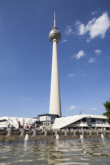 Germany, Berlin, view to television tower at Alexanderplatz with fountain in the foreground - WIF001000
