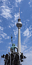 Germany, Berlin, view to television tower at Alexanderplatz with sculpture of neptune fountain in the foreground - WIF001006