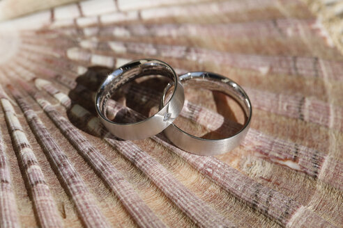 Two wedding rings lying on a shell - MABF000234