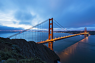 USA, California, San Francisco, skyline and Golden Gate Bridge at the blue hour seen from Hawk Hill - FOF007045