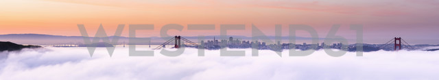 USA, California, San Francisco, skyline and Golden Gate Bridge in fog seen from Hawk Hill - FOF007014