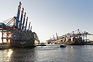 Germany, Hamburg, Container ships in the Port of Hamburg, towboat - MS004268