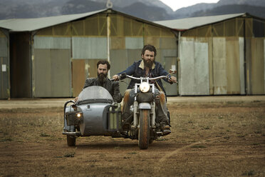 Two men with full beards in motorcycle with sidecar - KOF000008
