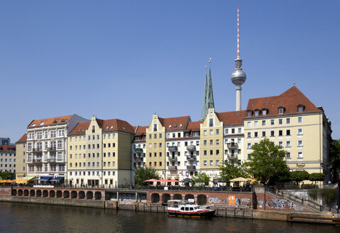 Germany, Berlin, buildings in St Nicholas Quarter with church and TV Tower - PSF000628