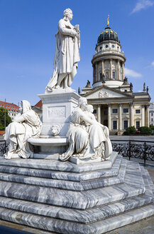 Germany, Berlin, Gendarmenmarkt square with  statue of Schiller and French Cathedral - PSF000636