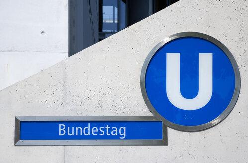 Germany, Berlin, Bundestag underground station entrance - PS000645