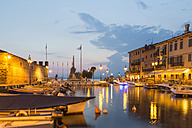 Italy, Lake Garda, Lazise, harbor at blue hour - SARF000831