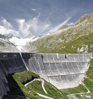 Switzerland, Canton of Bern, Bernese Alps, Upper Aare-Lake and Upper Aare-Glacier, dam wall - SCH000403