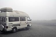 Switzerland, Canton of Bern, Bernese Alps, Grimsel Pass, old caravan in the fog - SCH000408