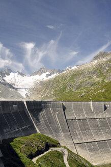 Switzerland, Canton of Bern, Bernese Alps, Upper Aare-Lake and Upper Aare-Glacier, dam wall - SCH000409