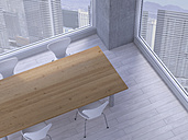 Table with chairs in a meeting room of a modern office, 3D Rendering - UWF000169