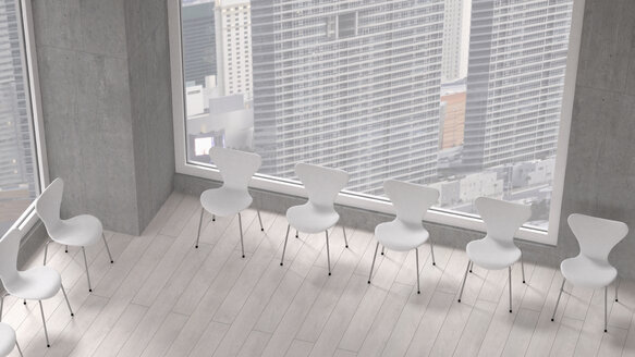 Row of chairs in a room of a modern office building, 3D Rendering - UWF000172