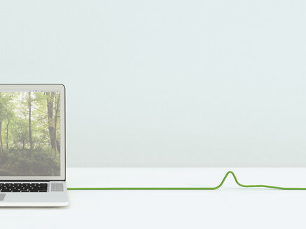 Opened laptop with green cable, 3D Rendering - UWF000175