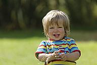 France, Britanny, Sainte-Anne-la-Palud, portrait of smiling little boy - LAF001142