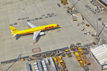 Germany, Bavaria, Munich, aerial view of cargo plane at Munich airport - KD000017