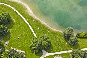 Germany, Bavaria, Feldkirchen, aerial view of people at lakeshore - KDF000022