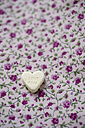 Sugar heart with the words 'Love you' on floral pattern cloth - MYF000560