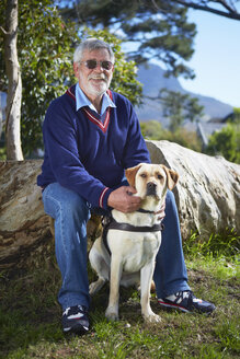 Portrait of visually impaired man and his guide dog - ZEF001002