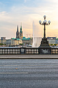 Germany, Hamburg, Inner Alster Lake, view from the Lombard bridge in the evening light - RJF000280