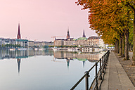 Germany, Hamburg, Inner Alster lake, afterglow - RJF000281