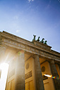 Germany, Berlin, Berlin-Mitte, Brandenburg Gate, Quadriga against the sun - KRPF001157