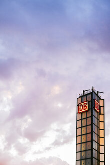 Germany, Berlin, tower of Deutsche Bahn at central station - KRP001146