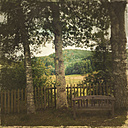 Empty bench with view to Palatinate Forest, Germany - LVF001915
