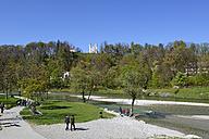 Germany, Bavaria, Upper Bavaria, Bad Toelz, Isar river, Leonhardi Chapel and Holy Cross Church - LHF000403