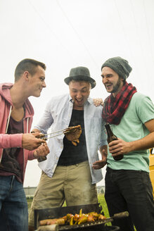Group of friends drinking beer and having a barbecue - UUF001862