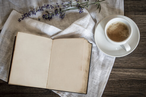 Stilllife with old book, cup of coffee, lavender and cloth - SARF000808