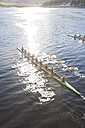 Elevated view of two rowing eights in water - ZEF000485