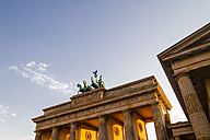 Germany, Berlin, Berlin-Mitte, Brandenburg Gate in the evening light - KRPF001163