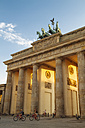 Germany, Berlin, Berlin-Mitte, Brandenburg Gate in the evening light - KRPF001164