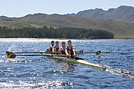 Coxless four rowing boat in water - ZEF000937