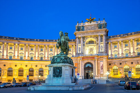 Austria, Vienna, national library with equestrian statue at blue hour - PUF000076
