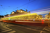 Austria, Vienna, opera square with passing tramway at blue hour - PUF000077